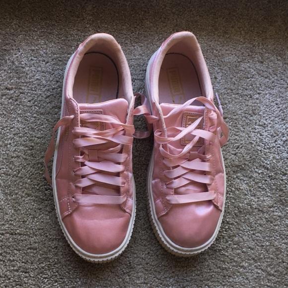Puma Shoes | Pink Silk Platform Pumas